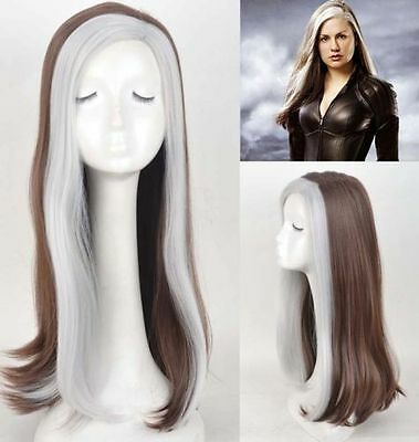 Newest X-Men Rogue Wig Mix Color long Anime Cosplay Wig Heat Resistant for women (X Men Rogue Wig)