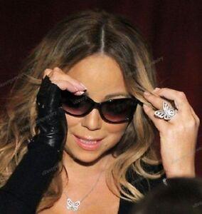 14k White Gold Gp Round Cut Diamond Mariah Carey Butterfly Fashion Wedding Ring
