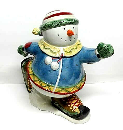 Christmas Holiday Snowman Cookie Jar Porcelain Oneida BIG Gift Fabulous Rare