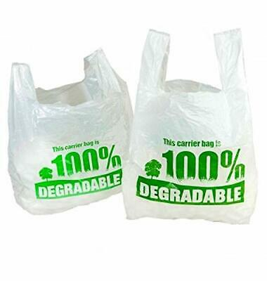 Sabco - White Vest Carrier Bags 100% Degradable - Large 11 x 17 x 21