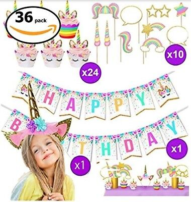 Unicorn Party Supplies, Girls Happy Birthday Kit Decorations and Party Favors