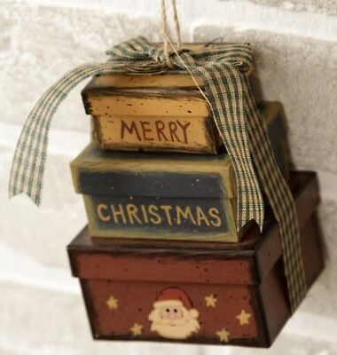 "NEW PRIM COUNTRY HANGING MINI /"" MERRY CHRISTMAS /"" 3 pc BOX SET ORNAMENT ap"
