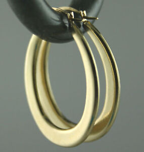 Italian Solid 14K Yellow Gold Oval Hoop Earrings GORGEOUS 1
