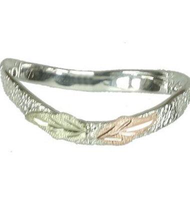 Black Hills Gold Sterling Silver Ring - Black Hills Gold thumb ring curved .925 sterling silver