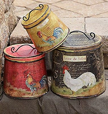French Country Farmhouse Chic Set 3 Hen Rooster Chicken Canister Tin With Lid