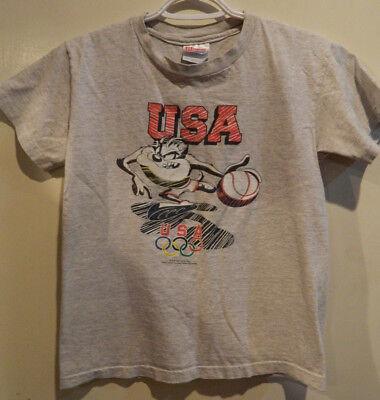 Vintage 1995 USA Olympics Taz Tazmanian Devil Basketball Shirt Hanes Youth Large