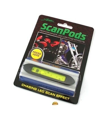 New Motorcycle StreetFX Motorcycle Scan LED Pods Oval Green Light, 3393, 1041712