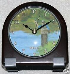 RELIC: Solid Wood Desk Clock Fisherman Holiday Gift box