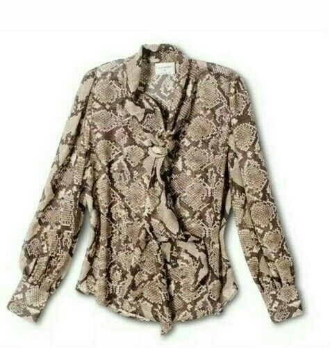 Altuzarra Brown Snakeskin Bow Blouse Shirt Top Size XS Clothing, Shoes & Accessories