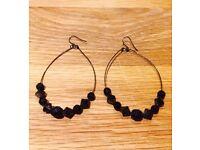 PRETTY BLACK WIRE OVAL SWING STYLE HOOK EARRINGS FROM JC PENNY'S IN USA