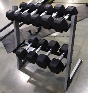 Dumbbell set with rack.