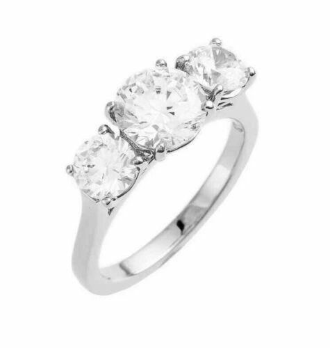 Nadri Three Stone Cubic Zirconia Crystal Ring Band Silverton