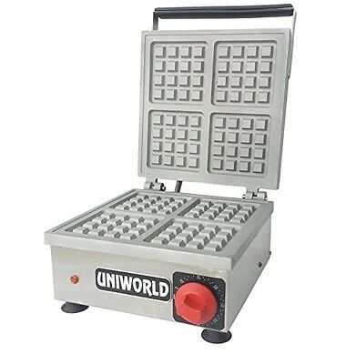 Uniworld Stainless Steel Commercial Waffle Maker w/ 4-Single Plate Cast Aluminum