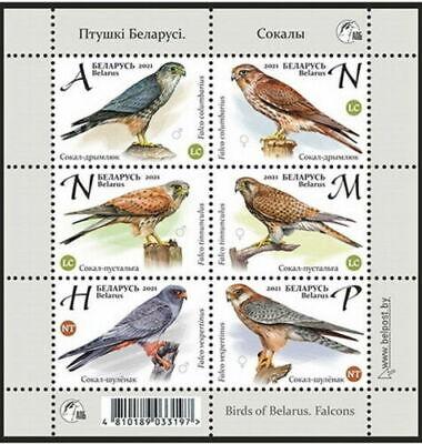 """Belarus 2021 Small sheet """"Birds of Belarus. Falcons"""" MNH. Sheet"""
