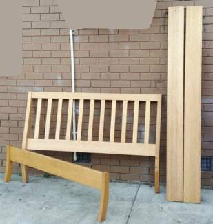 timber queen bed frame with mattress