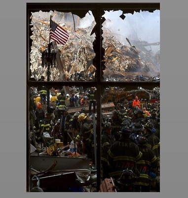 9/11 Attacks World Trade Center Flag Window PHOTO Fireman Ruins New York FDNY