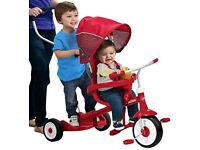 BARGAIN! Radio Flyer Deluxe Ride & Stand Stroll 'n' Trike -double for 2 children - rare - vgc