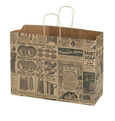 Large Newsprint Paper Shopper With Gusset Handles 16 X 6 X 12 - Count Of 25