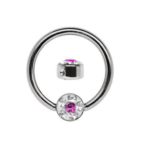 Joyería Piercing Pezón Titan Anillo BCR 1,6mm con 2 Zirconia bolas en 6mm+