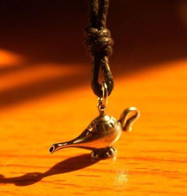 Genie Lamp Bottle Handmade Gold Brass Necklace Pendant Jewelry Charm Aladdin - Gold Genie