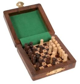 Fair Trade Minature/Travel Chess Set **new/unused/boxed - ideal fathers day gift**