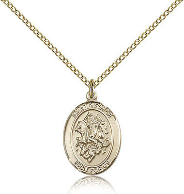 Saint George Medal For Women - Gold Filled Necklace On 18