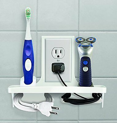 Wall Outlet Organizer Stores, Organizes, Charges Phone, Electric Toothbrush