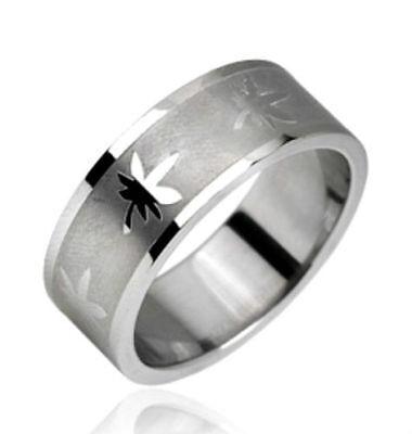 Pot Leaf Design 316L Stainless Steel Ring  Leaf Design Ring
