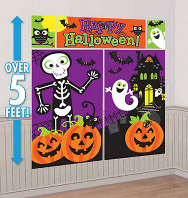 HALLOWEEN Scene Setter kid's party wall decor kit 5' pumpkin ghost haunted house - Kids Halloween Party Decorations