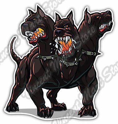 Cerberus 3 Headed Hell Dog Hound Of Hades Car Bumper Vinyl Sticker Decal - Cerberus 3 Headed Dog