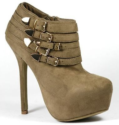 Taupe Brown Faux Suede Gold Buckle High Heel Platform Fashion Ankle Boot