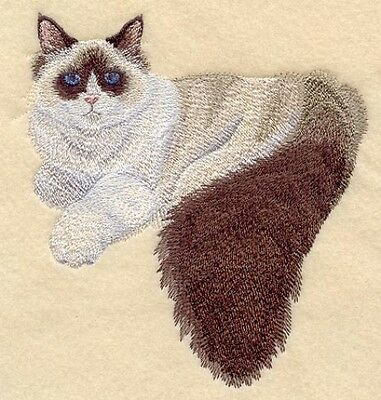 Large Embroidered Zippered Tote - Ragdoll Cat C7934
