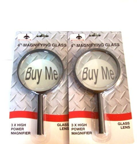 """2 GOLIATH INDUSTRIAL 4"""" JUMBO MAGNIFYING GLASSES GLASS LENS HAND HELD MAGNIFIER"""