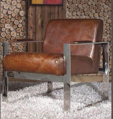 Vintage Echtleder Büro Sessel Edelstahl Ledersessel Design Lounge Stuhl 445