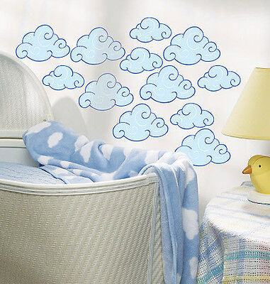 Wallies Puffy Clouds  Wall Stickers 25 Prepasted Decals Blue Swirly Sky Decor