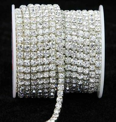 10 Yard Silver & Gold Glass Rhinestone DIY Close Chain Clear Trim Sewing Craft   (Sewing Trim)