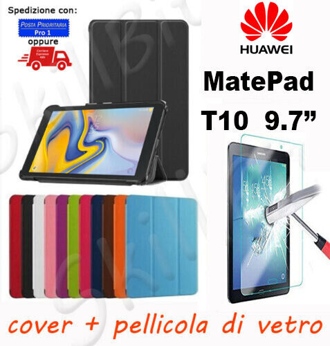 COVER CASE CUSTODIA LIBRO PELLE PER HUAWEI TABLET MATEPAD T10 9.7'' 9,7 + VETRO