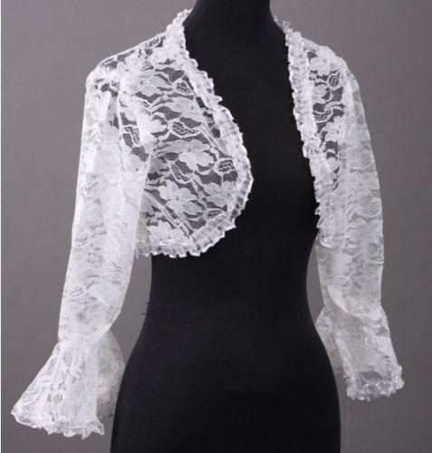 Wedding dress lace jacket ebay for Lace jackets for wedding dresses