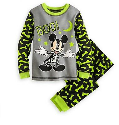 Disney Store Authentic Skeleton Mickey Mouse Halloween Glowing Pajamas Sz 4 - Glow Halloween Store