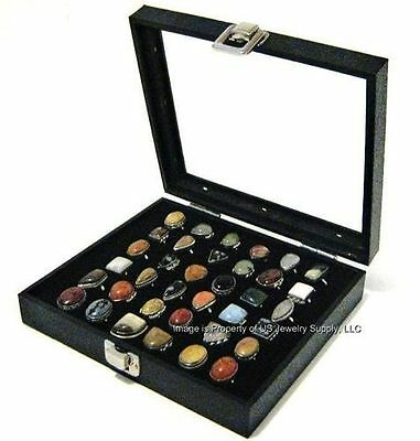 1 Wholesale Glass Top Lid Black 36 Ring Display Portable Sales Storage Box Case