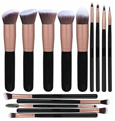 14 PCS Synthetic Foundation Powder Concealers Eye Shadows Makeup Brush Rose Gold