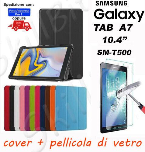 COVER CUSTODIA LIBRO PELLE PER SAMSUNG GALAXY TABLET TAB A7 T500 10.4'' + VETRO
