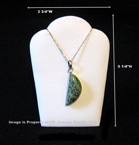 """6 Small White Leatherette Necklace Pendant Easel Back Display 3 3/4""""W x 5 1/4""""H"""