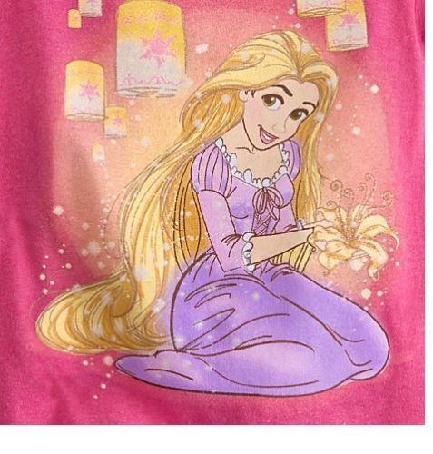 Disney Store Tangled Princess Rapunzel Lanterns Girls Glitter T Shirt Size 5/6