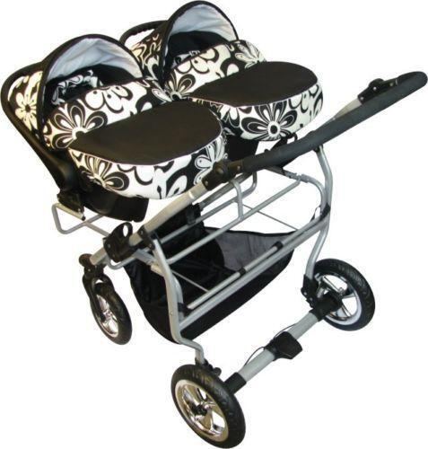 Double Buggy With Car Seat Ebay