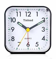 Tinload Small Battery Operated Analog Alarm Clock Silent Non Ticking, Black