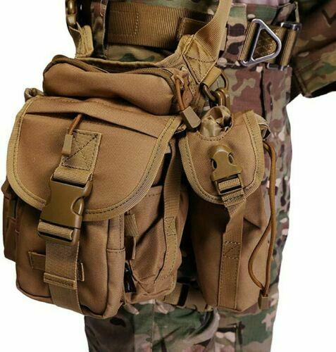 Men Military Tactical Drop Leg Bag Tool Thigh Pack Leg Rig Utility Pouch Outdoor