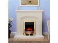 Modern Cream/Gold Electric Fire Surround Set Complete Fireplace Package