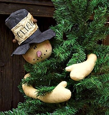 New Primitive Country FROSTY SNOWMAN TOP HAT DOLL Tree Topper Hugger - Top Hat Tree Topper