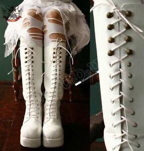 Gothic-Lolita-Lace-up-CORSET-Platform-Knee-Boot-White
